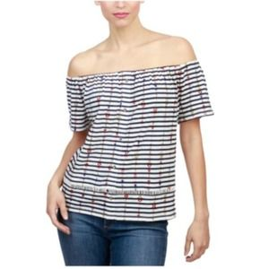 Lucky Brand Striped Knit Blouse Off Shoulder White